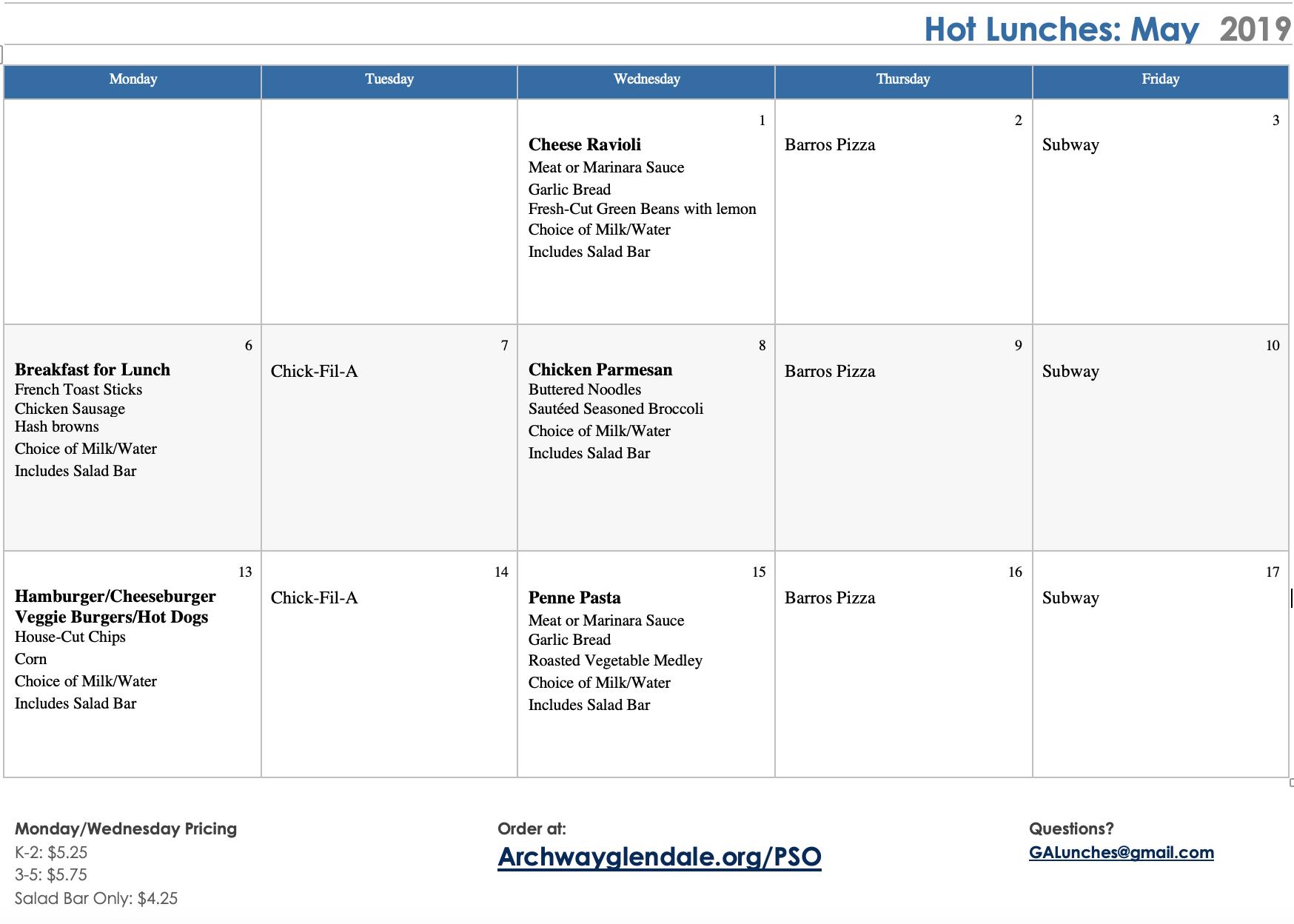 May, 2019 Hot Lunch Menu